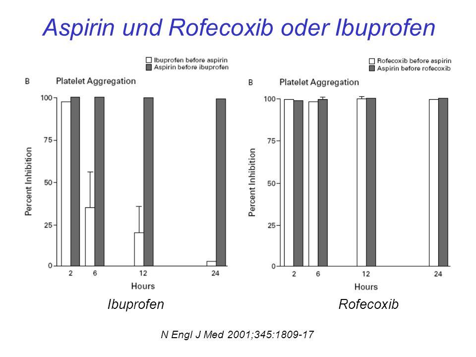 Aspirin und Rofecoxib oder Ibuprofen IbuprofenRofecoxib N Engl J Med 2001;345:1809-17