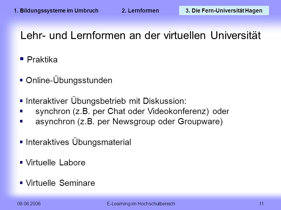 E-Learning im Hochschulbereich 11 08.06.2006 Lehr- und Lernformen an der virtuellen Universität Praktika Online-Übungsstunden Interaktiver Übungsbetri