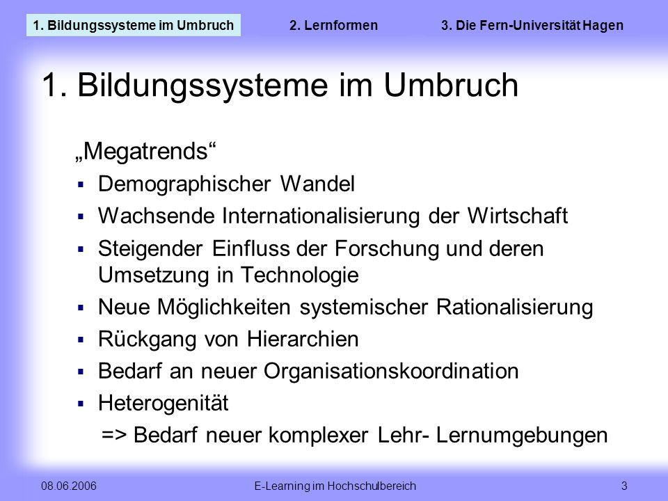 E-Learning im Hochschulbereich 3 08.06.2006 1. Bildungssysteme im Umbruch Megatrends Demographischer Wandel Wachsende Internationalisierung der Wirtsc