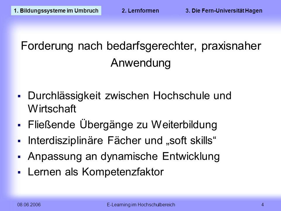 E-Learning im Hochschulbereich 4 08.06.2006 Forderung nach bedarfsgerechter, praxisnaher Anwendung Durchlässigkeit zwischen Hochschule und Wirtschaft