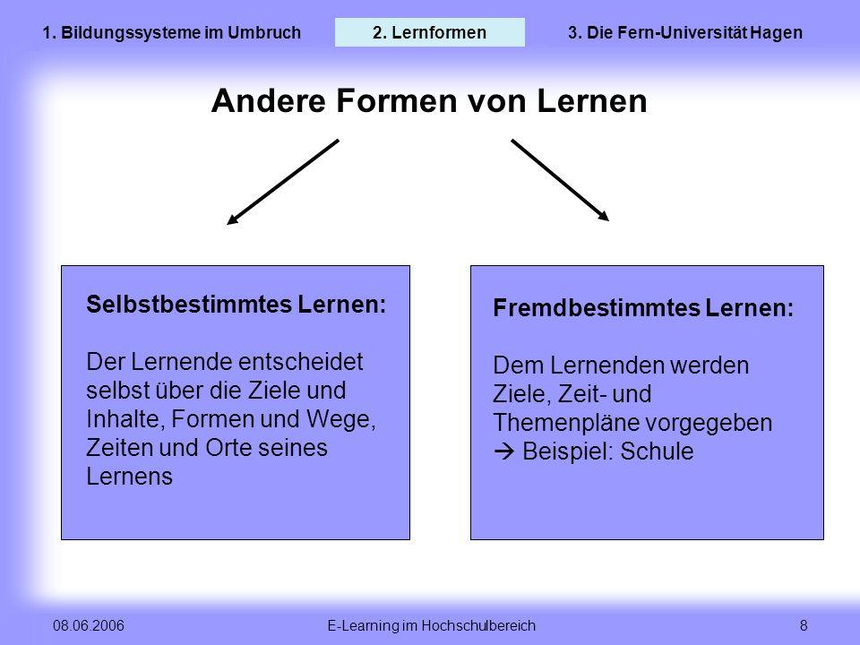 E-Learning im Hochschulbereich 8 08.06.2006 Andere Formen von Lernen Selbstbestimmtes Lernen: Der Lernende entscheidet selbst über die Ziele und Inhal