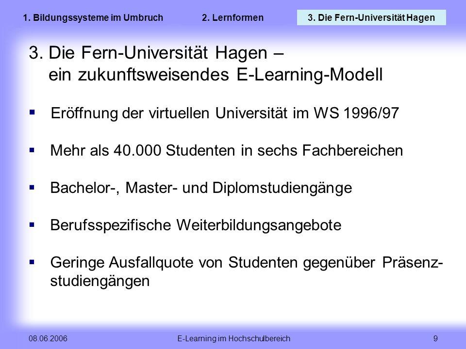 E-Learning im Hochschulbereich 9 08.06.2006 3. Die Fern-Universität Hagen – ein zukunftsweisendes E-Learning-Modell Eröffnung der virtuellen Universit