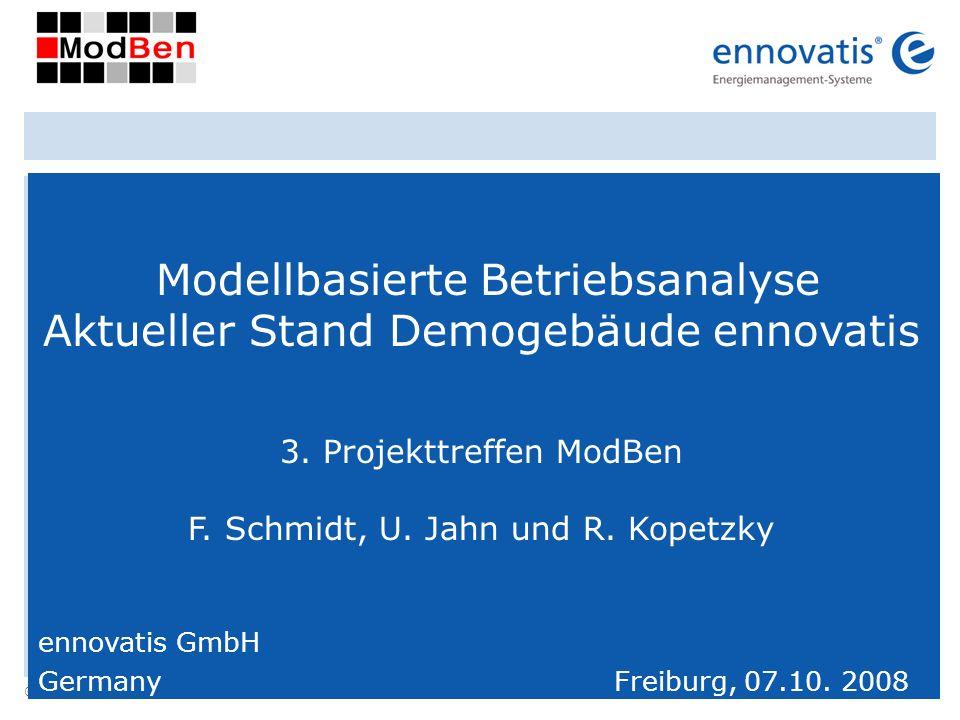 © ennovatis GmbH 1 Modellbasierte Betriebsanalyse Aktueller Stand Demogebäude ennovatis 3. Projekttreffen ModBen F. Schmidt, U. Jahn und R. Kopetzky e