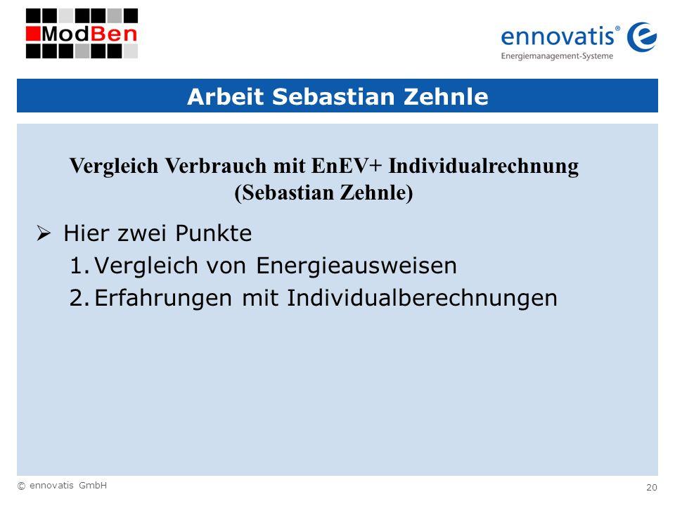 © ennovatis GmbH 20 Arbeit Sebastian Zehnle Hier zwei Punkte 1.Vergleich von Energieausweisen 2.Erfahrungen mit Individualberechnungen Vergleich Verbr