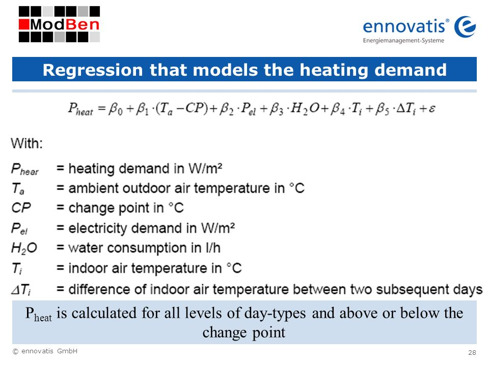 © ennovatis GmbH 28 Regression that models the heating demand P heat is calculated for all levels of day-types and above or below the change point