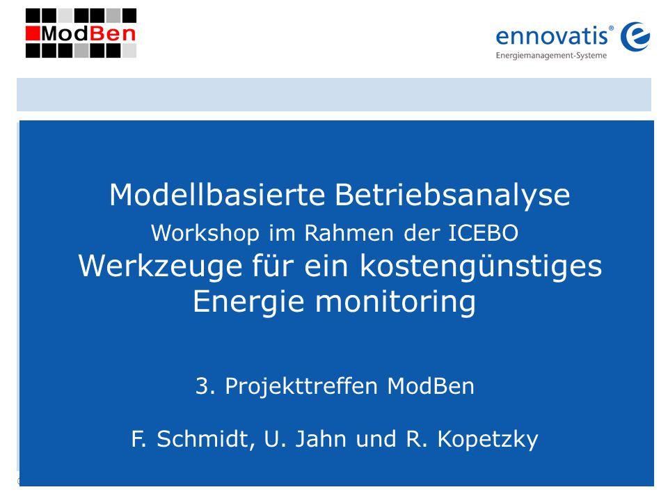 © ennovatis GmbH 30 Modellbasierte Betriebsanalyse Workshop im Rahmen der ICEBO Werkzeuge für ein kostengünstiges Energie monitoring 3. Projekttreffen