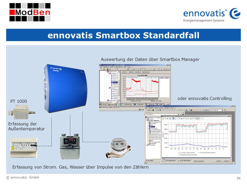 © ennovatis GmbH 36 ennovatis Smartbox Standardfall Auswertung der Daten über Smartbox Manager Erfassung von Strom. Gas, Wasser über Impulse von den Z