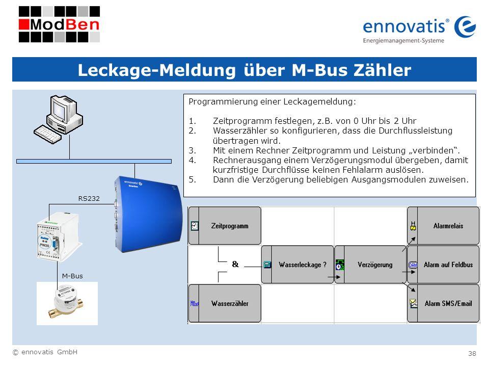 © ennovatis GmbH 38 Leckage-Meldung über M-Bus Zähler M-Bus RS232 Programmierung einer Leckagemeldung: 1.Zeitprogramm festlegen, z.B. von 0 Uhr bis 2