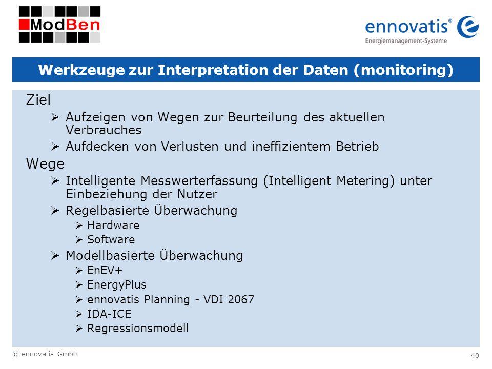 © ennovatis GmbH 40 Werkzeuge zur Interpretation der Daten (monitoring) Ziel Aufzeigen von Wegen zur Beurteilung des aktuellen Verbrauches Aufdecken v