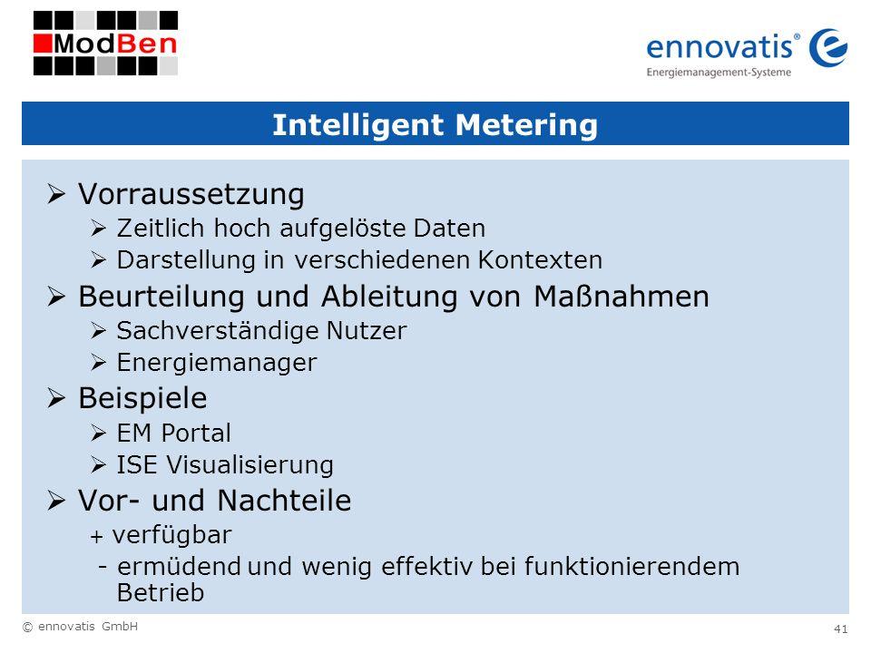 © ennovatis GmbH 41 Intelligent Metering Vorraussetzung Zeitlich hoch aufgelöste Daten Darstellung in verschiedenen Kontexten Beurteilung und Ableitun