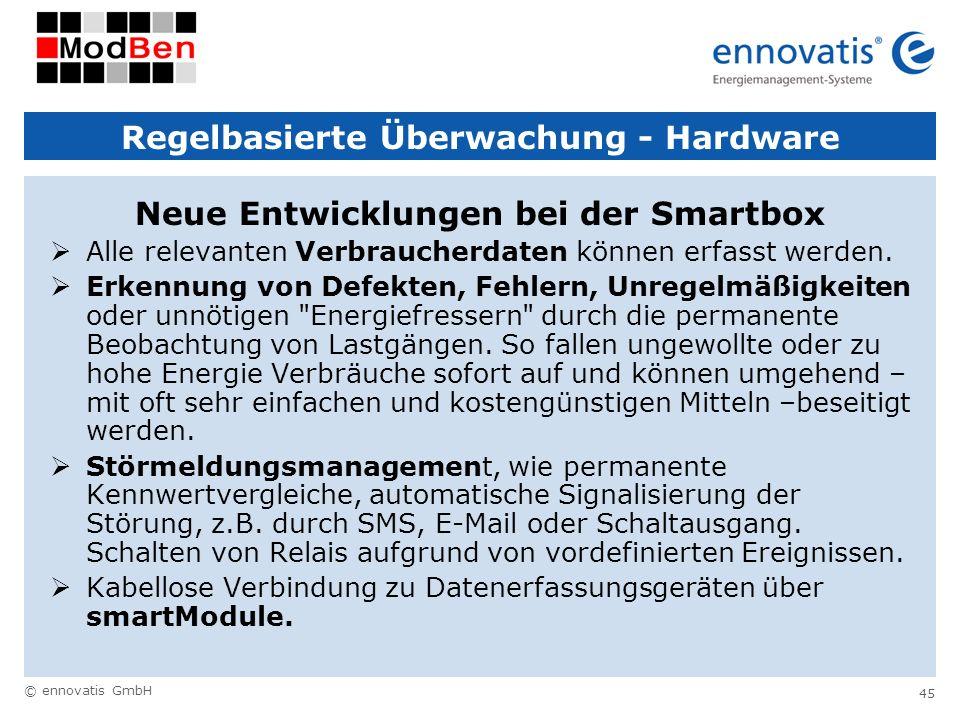 © ennovatis GmbH 45 Regelbasierte Überwachung - Hardware Neue Entwicklungen bei der Smartbox Alle relevanten Verbraucherdaten können erfasst werden. E