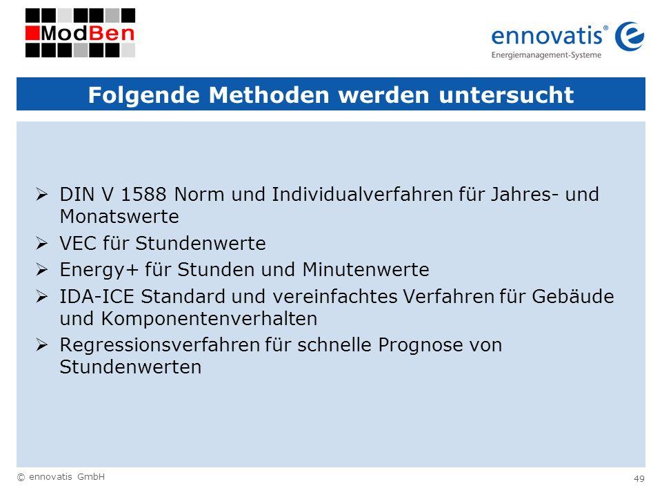 © ennovatis GmbH 49 Folgende Methoden werden untersucht DIN V 1588 Norm und Individualverfahren für Jahres- und Monatswerte VEC für Stundenwerte Energ