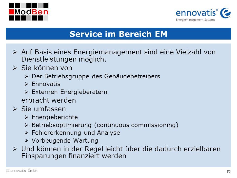 © ennovatis GmbH 53 Service im Bereich EM Auf Basis eines Energiemanagement sind eine Vielzahl von Dienstleistungen möglich. Sie können von Der Betrie