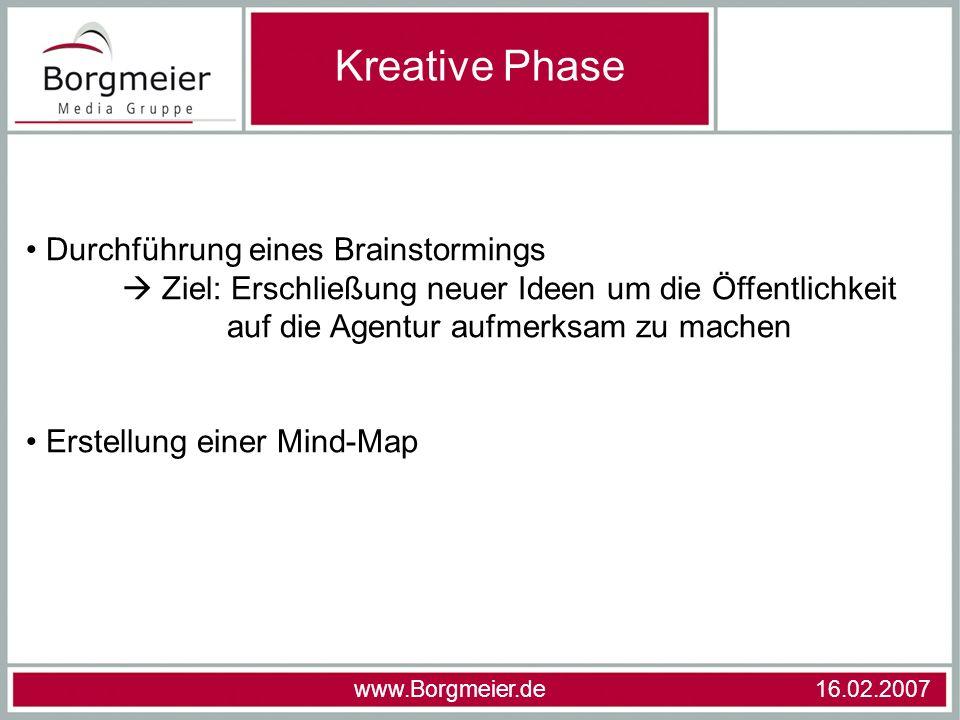 Kreative Phase Durchführung eines Brainstormings Ziel: Erschließung neuer Ideen um die Öffentlichkeit auf die Agentur aufmerksam zu machen Erstellung