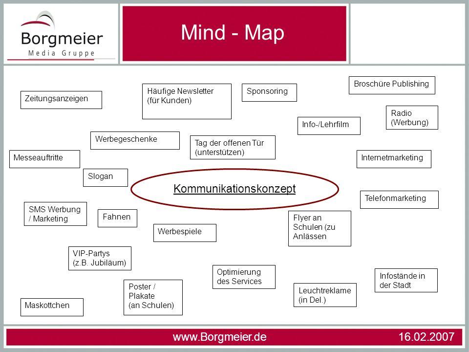 Mind - Map www.Borgmeier.de 16.02.2007 Kommunikationskonzept Zeitungsanzeigen Werbegeschenke Slogan Tag der offenen Tür (unterstützen) Häufige Newslet