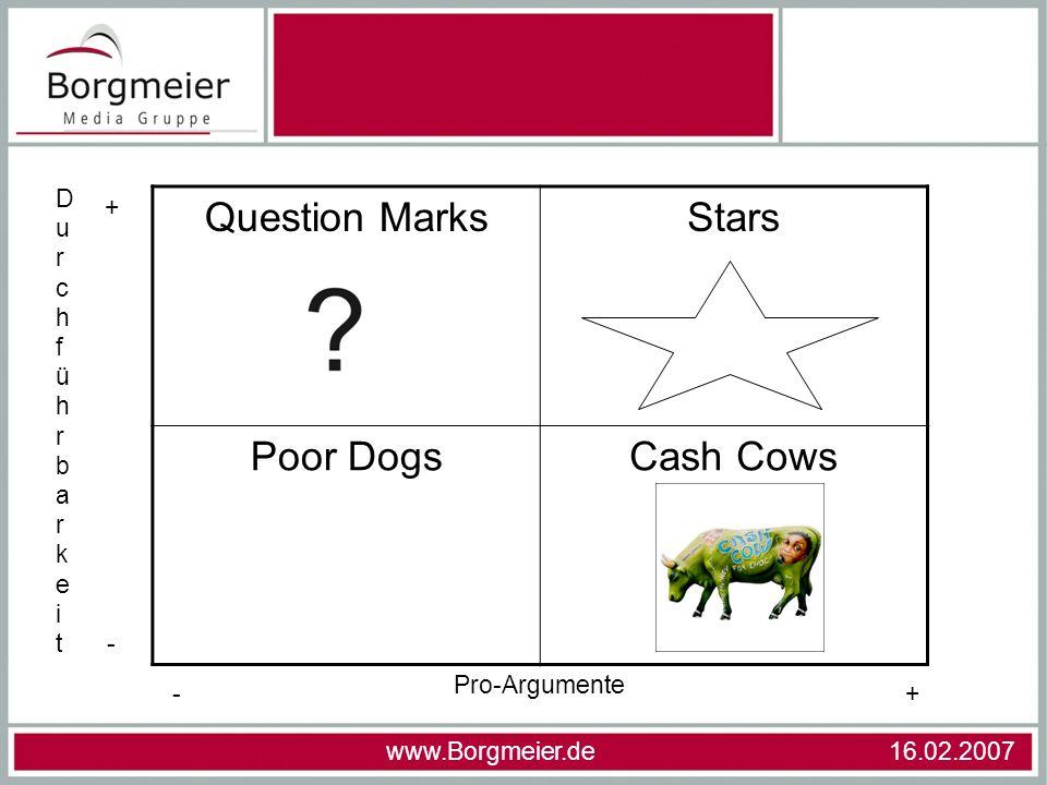www.Borgmeier.de 16.02.2007 Question MarksStars Poor DogsCash Cows Pro-Argumente DurchführbarkeitDurchführbarkeit +- - +