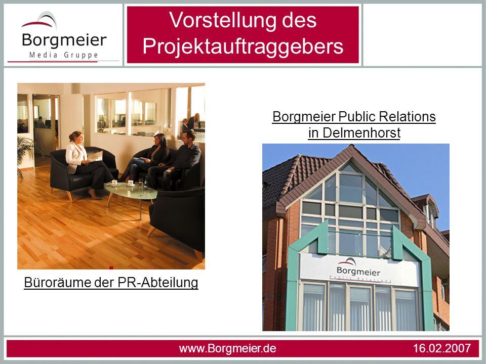 Vorstellung des Projektauftraggebers Büroräume der PR-Abteilung Borgmeier Public Relations in Delmenhorst
