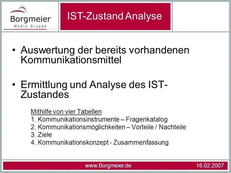Auswertung der bereits vorhandenen Kommunikationsmittel Ermittlung und Analyse des IST- Zustandes Mithilfe von vier Tabellen 1. Kommunikationsinstrume