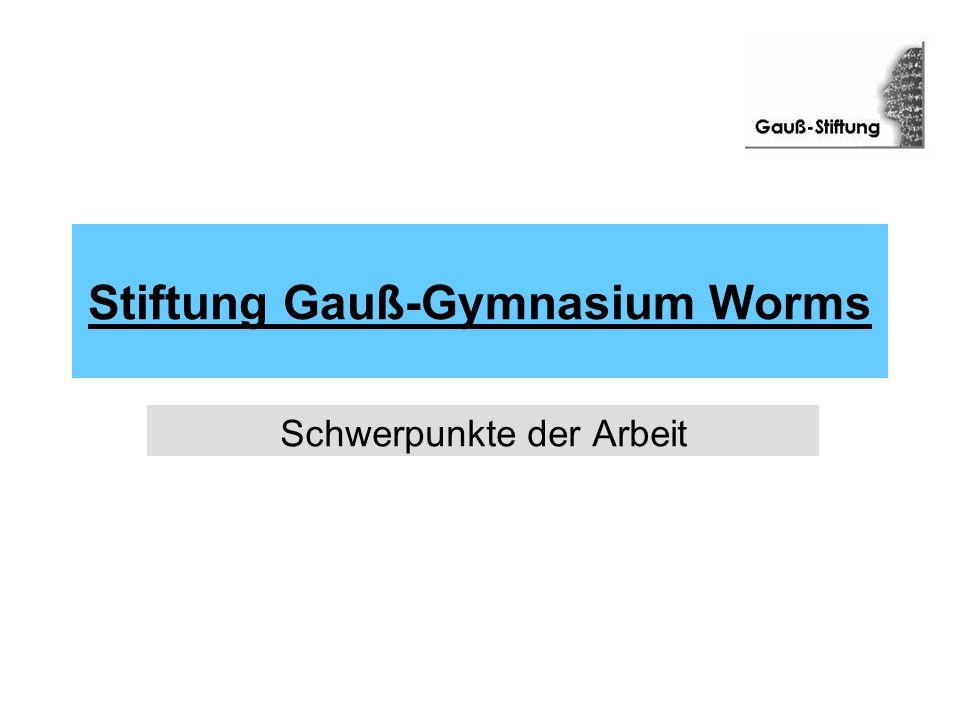 Stiftung Gauß-Gymnasium Worms Schwerpunkte der Arbeit