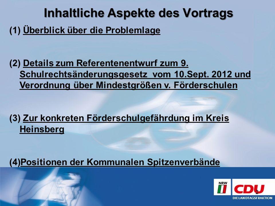 Inhaltliche Aspekte des Vortrags (1) Überblick über die Problemlage (2) Details zum Referentenentwurf zum 9. Schulrechtsänderungsgesetz vom 10.Sept. 2