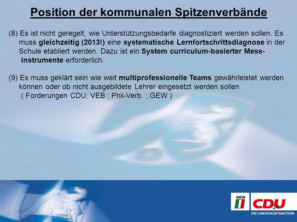 Position der kommunalen Spitzenverbände 24 (8) Es ist nicht geregelt, wie Unterstützungsbedarfe diagnostiziert werden sollen. Es muss gleichzeitig (20