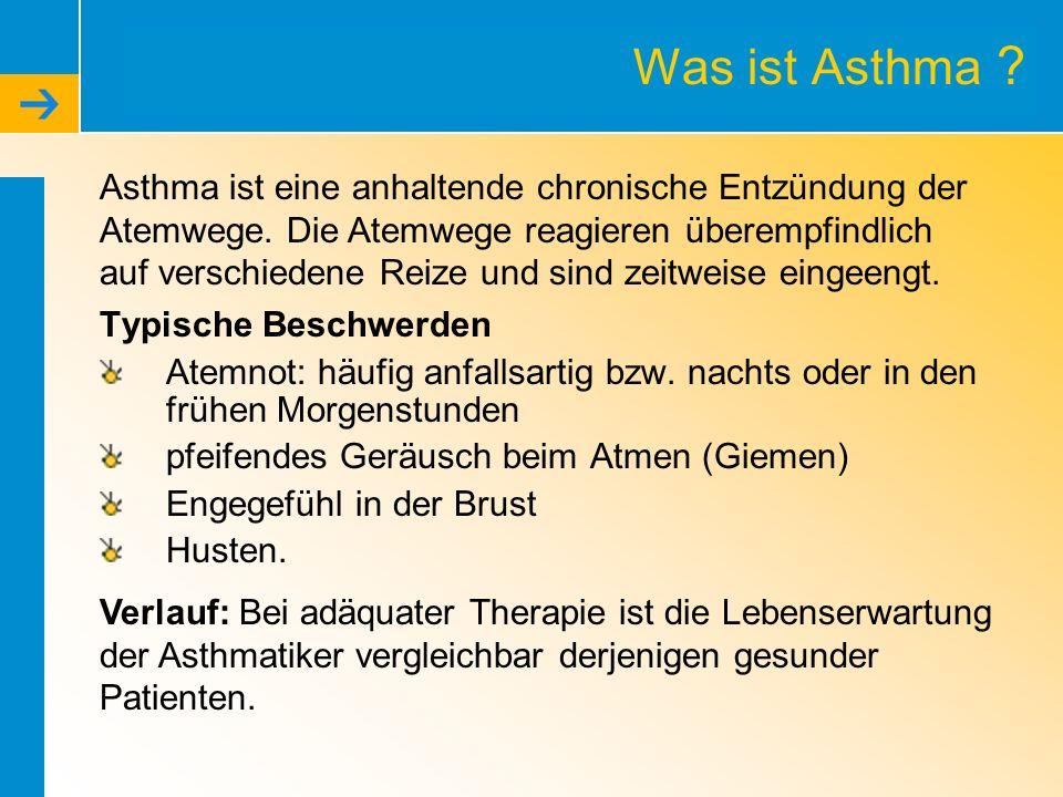 Was ist Asthma ? Typische Beschwerden Atemnot: häufig anfallsartig bzw. nachts oder in den frühen Morgenstunden pfeifendes Geräusch beim Atmen (Giemen