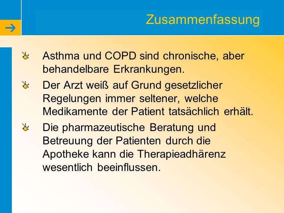 Zusammenfassung Asthma und COPD sind chronische, aber behandelbare Erkrankungen. Der Arzt weiß auf Grund gesetzlicher Regelungen immer seltener, welch