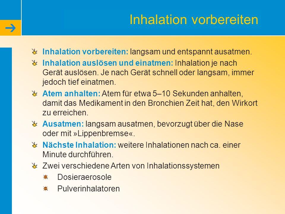 Inhalation vorbereiten Inhalation vorbereiten: langsam und entspannt ausatmen. Inhalation auslösen und einatmen: Inhalation je nach Gerät auslösen. Je