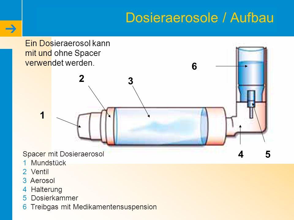 Dosieraerosole / Aufbau Spacer mit Dosieraerosol 1 Mundstück 2 Ventil 3 Aerosol 4 Halterung 5 Dosierkammer 6 Treibgas mit Medikamentensuspension 1 2 3