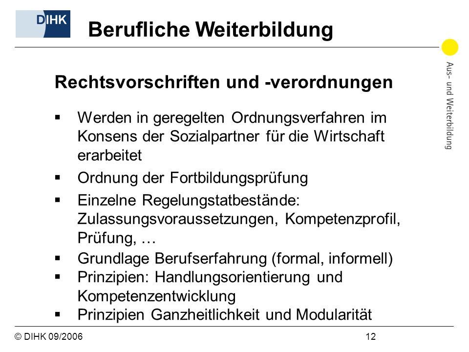 © DIHK 09/2006 12 Rechtsvorschriften und -verordnungen Werden in geregelten Ordnungsverfahren im Konsens der Sozialpartner für die Wirtschaft erarbeit