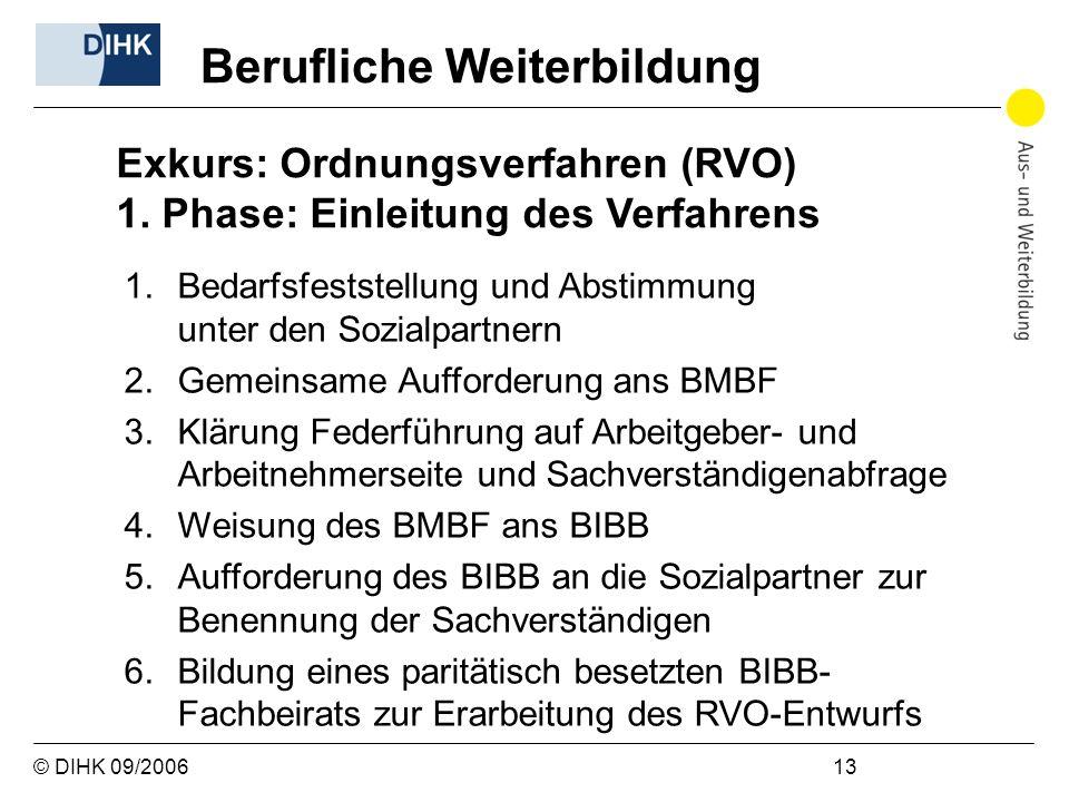 © DIHK 09/2006 13 Berufliche Weiterbildung Exkurs: Ordnungsverfahren (RVO) 1. Phase: Einleitung des Verfahrens 1.Bedarfsfeststellung und Abstimmung un