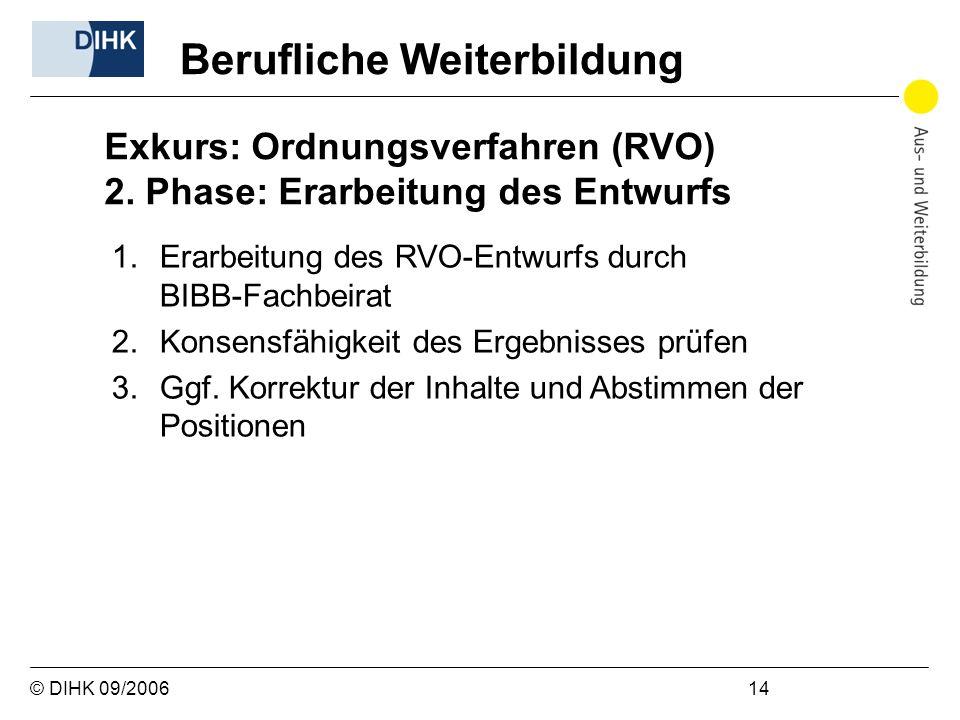 © DIHK 09/2006 14 1.Erarbeitung des RVO-Entwurfs durch BIBB-Fachbeirat 2.Konsensfähigkeit des Ergebnisses prüfen 3.Ggf. Korrektur der Inhalte und Abst