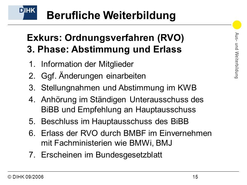 © DIHK 09/2006 15 1.Information der Mitglieder 2.Ggf. Änderungen einarbeiten 3.Stellungnahmen und Abstimmung im KWB 4.Anhörung im Ständigen Unteraussc
