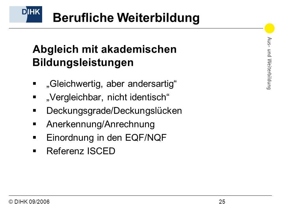 © DIHK 09/2006 25 Abgleich mit akademischen Bildungsleistungen Gleichwertig, aber andersartig Vergleichbar, nicht identisch Deckungsgrade/Deckungslück