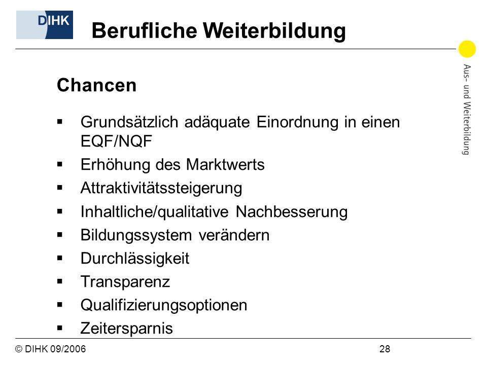 © DIHK 09/2006 28 Chancen Grundsätzlich adäquate Einordnung in einen EQF/NQF Erhöhung des Marktwerts Attraktivitätssteigerung Inhaltliche/qualitative