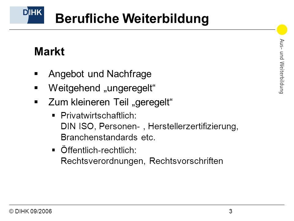 © DIHK 09/2006 3 Markt Angebot und Nachfrage Weitgehend ungeregelt Zum kleineren Teil geregelt Privatwirtschaftlich: DIN ISO, Personen-, Herstellerzer