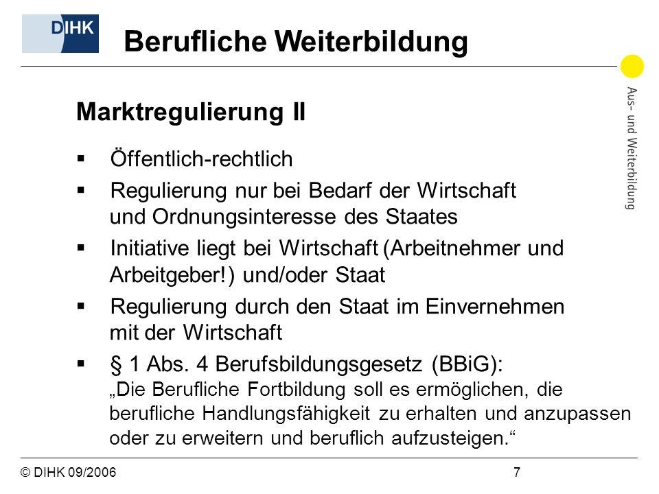 © DIHK 09/2006 7 Marktregulierung II Öffentlich-rechtlich Regulierung nur bei Bedarf der Wirtschaft und Ordnungsinteresse des Staates Initiative liegt