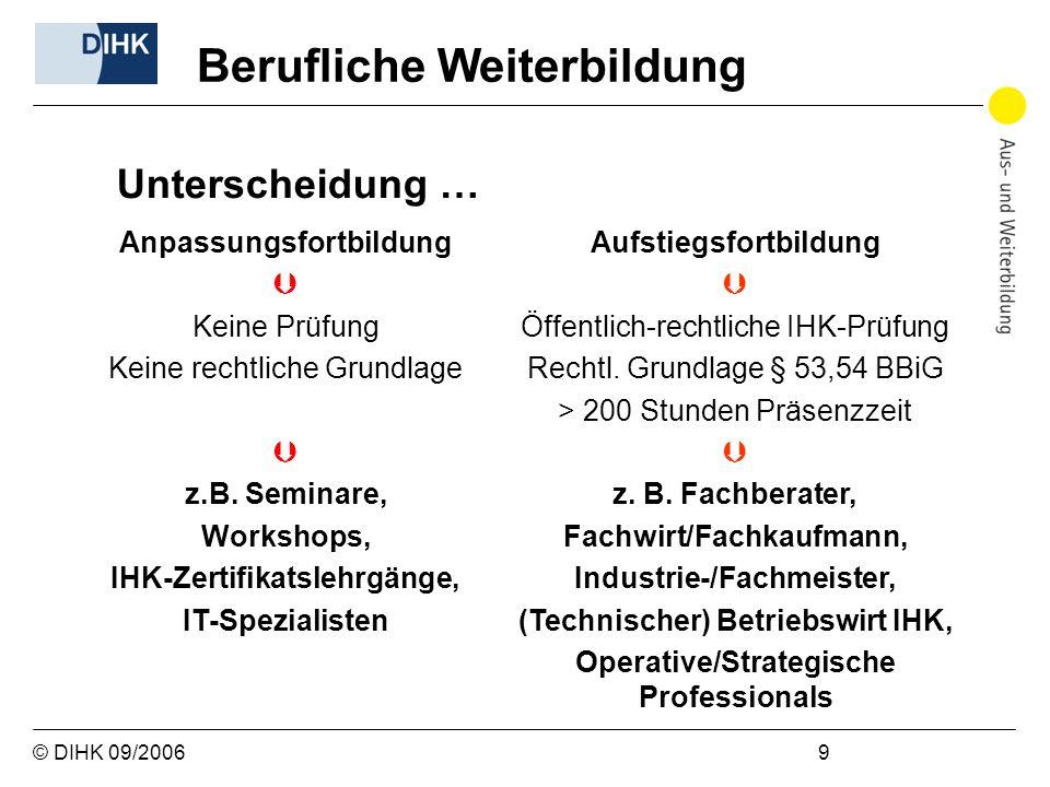 © DIHK 09/2006 9 Anpassungsfortbildung Keine Prüfung Keine rechtliche Grundlage z.B. Seminare, Workshops, IHK-Zertifikatslehrgänge, IT-Spezialisten Au