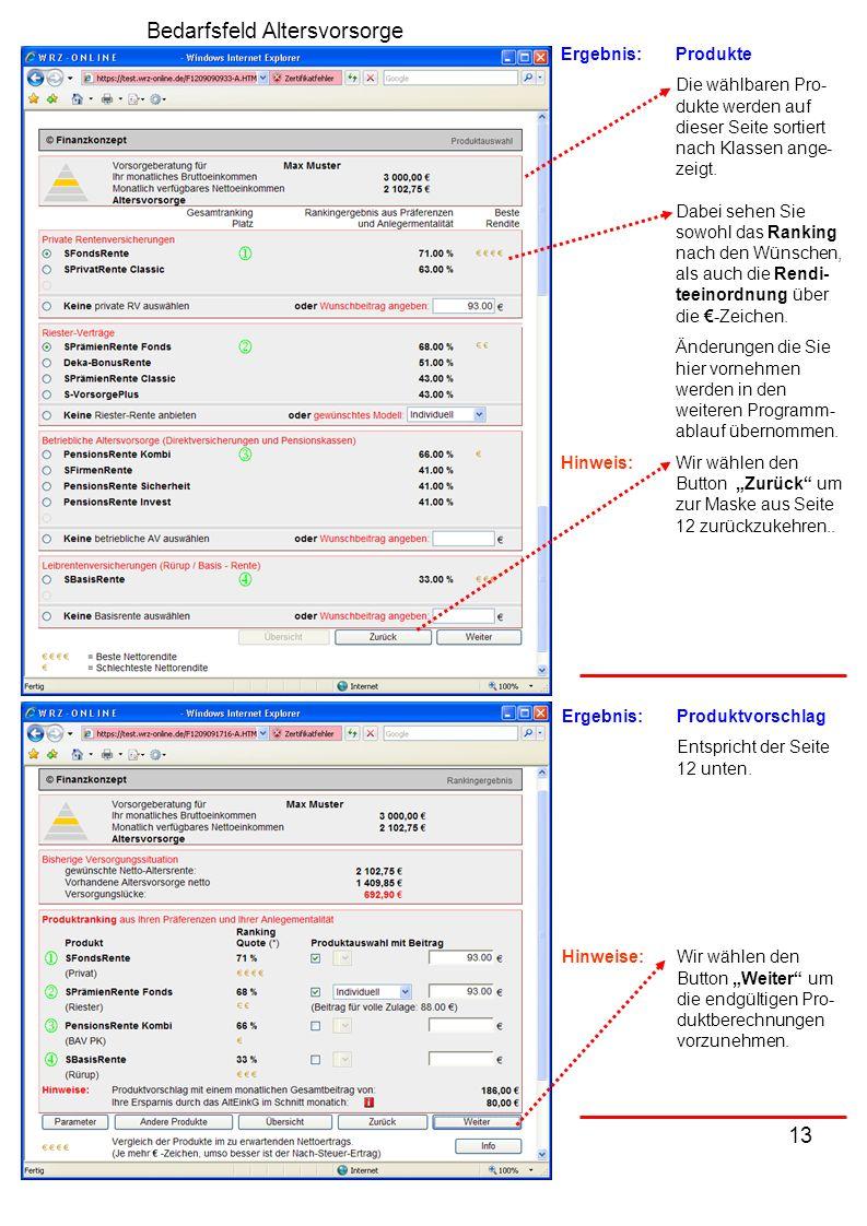 13 Ergebnis:Produkte Die wählbaren Pro- dukte werden auf dieser Seite sortiert nach Klassen ange- zeigt.