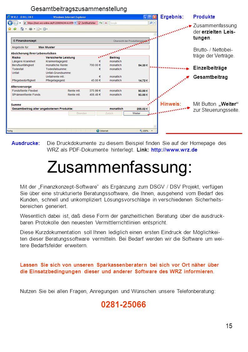 15 Ergebnis:Produkte Zusammenfassung der erzielten Leis- tungen.