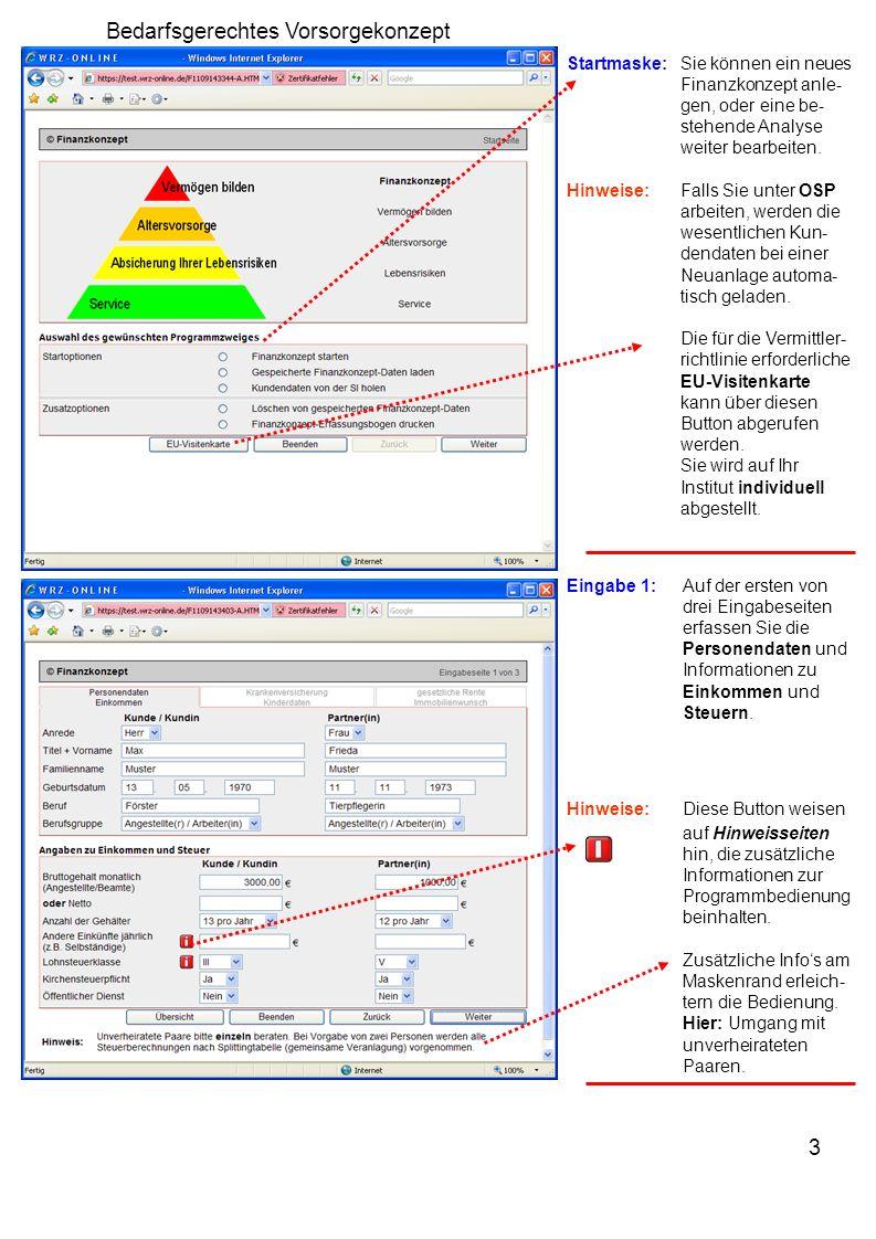 3 Bedarfsgerechtes Vorsorgekonzept Startmaske:Sie können ein neues Finanzkonzept anle- gen, oder eine be- stehende Analyse weiter bearbeiten. Hinweise