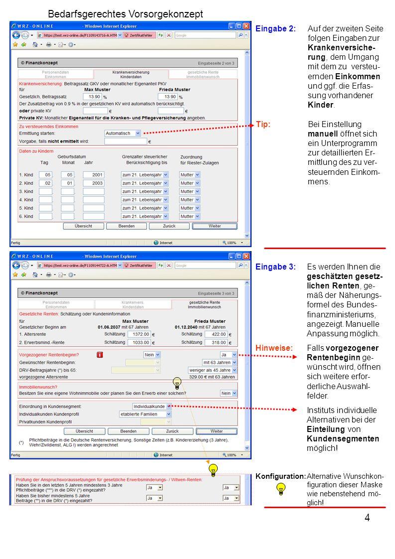 5 Bedarfsgerechtes Vorsorgekonzept Übersicht:Zentrale Steuerung Kundendaten und Eingaben zur gesetz- lichen Rente sind ggf.