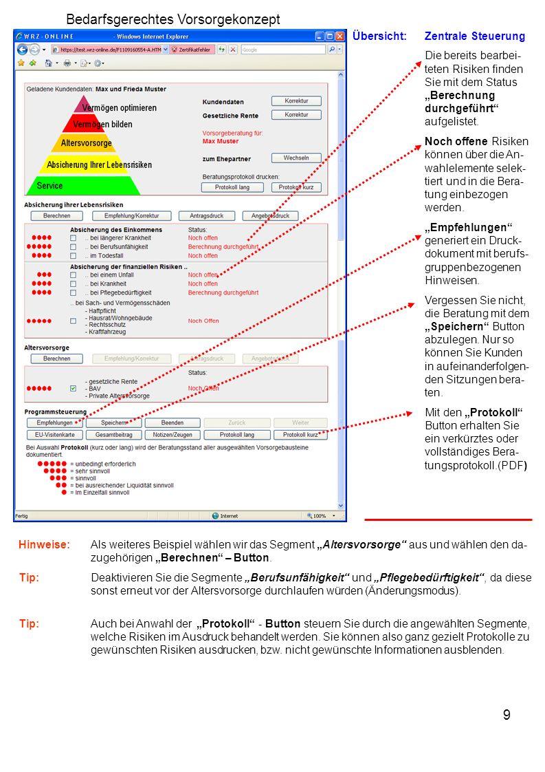 9 Übersicht:Zentrale Steuerung Die bereits bearbei- teten Risiken finden Sie mit dem Status Berechnung durchgeführt aufgelistet.