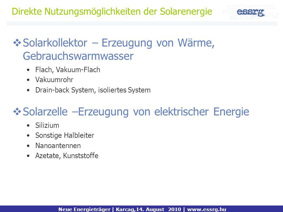 Direkte Nutzungsmöglichkeiten der Solarenergie Kiemelt mondanivaló Neue Energieträger | Karcag,14. August 2010 | www.essrg.hu Solarkollektor – Erzeugu
