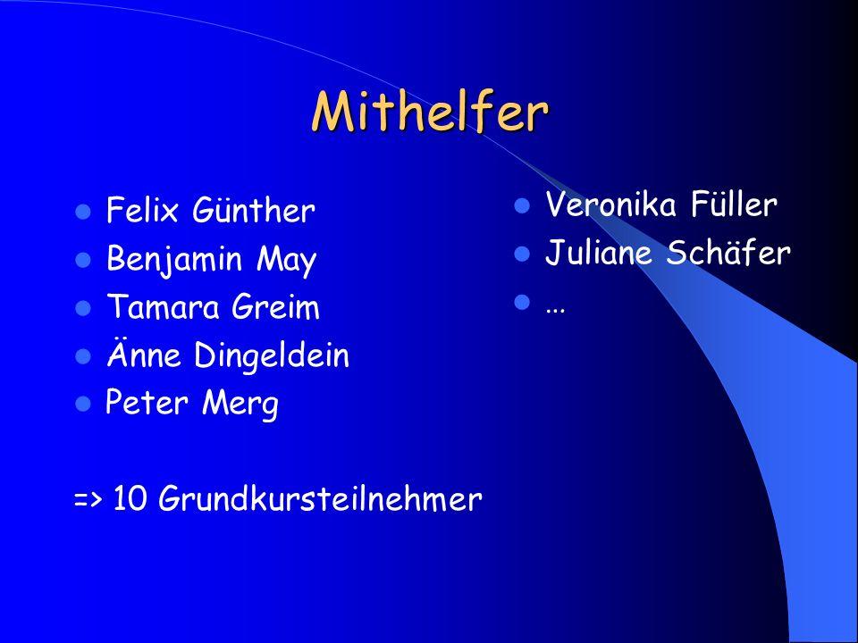 Mithelfer Felix Günther Benjamin May Tamara Greim Änne Dingeldein Peter Merg => 10 Grundkursteilnehmer Veronika Füller Juliane Schäfer …
