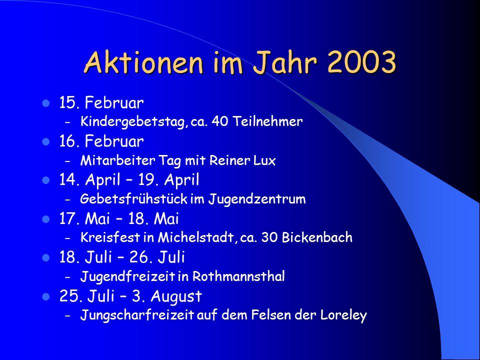 Aktionen im Jahr 2003 15. Februar – Kindergebetstag, ca. 40 Teilnehmer 16. Februar – Mitarbeiter Tag mit Reiner Lux 14. April – 19. April – Gebetsfrüh
