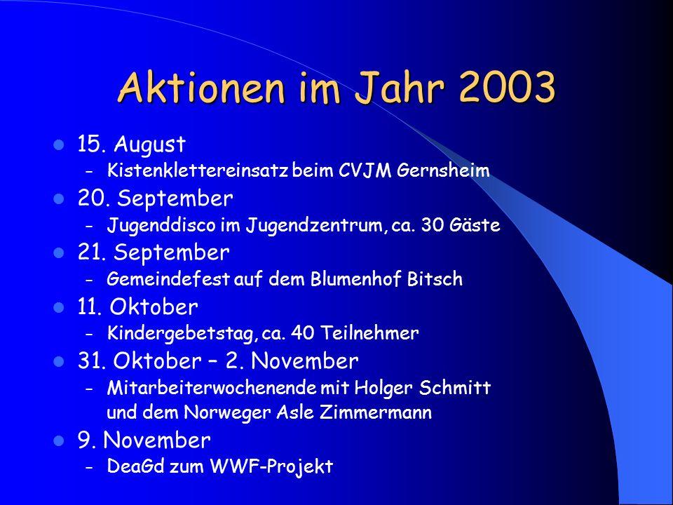 Aktionen im Jahr 2003 15. August – Kistenklettereinsatz beim CVJM Gernsheim 20. September – Jugenddisco im Jugendzentrum, ca. 30 Gäste 21. September –