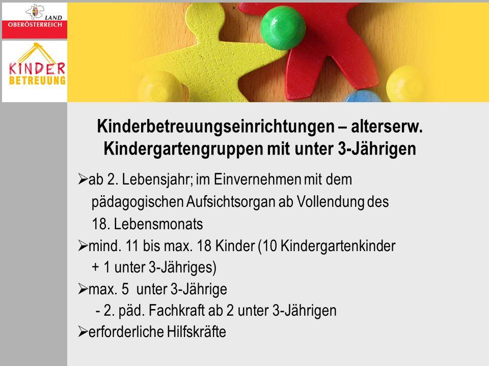 Kinderbetreuungseinrichtungen – alterserw. Kindergartengruppen mit unter 3-Jährigen ab 2. Lebensjahr; im Einvernehmen mit dem pädagogischen Aufsichtso