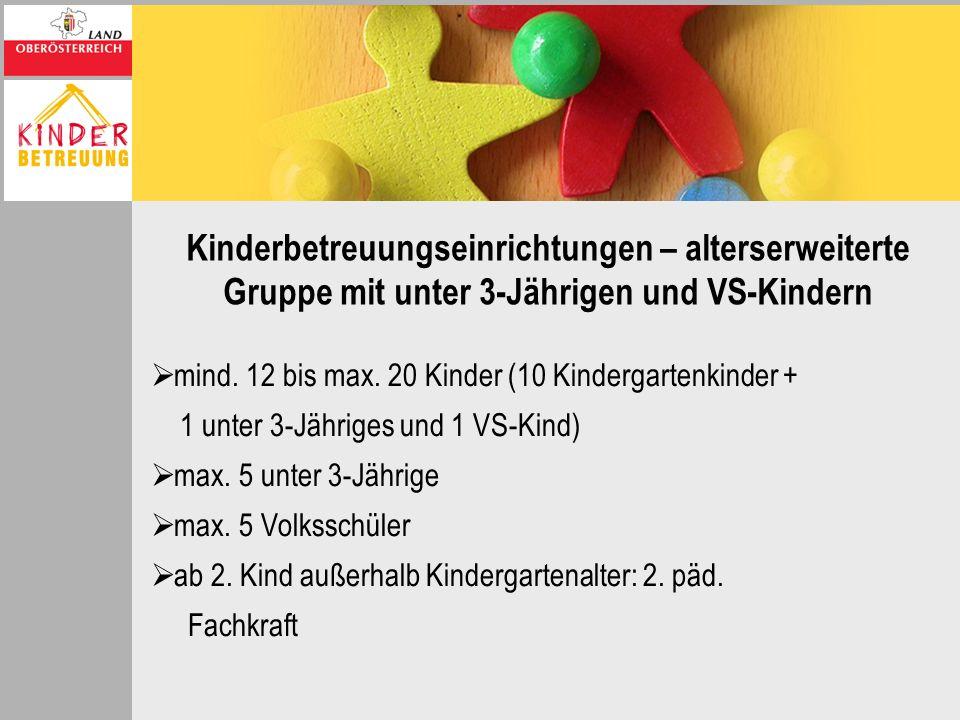 Kinderbetreuungseinrichtungen – alterserweiterte Gruppe mit unter 3-Jährigen und VS-Kindern mind. 12 bis max. 20 Kinder (10 Kindergartenkinder + 1 unt