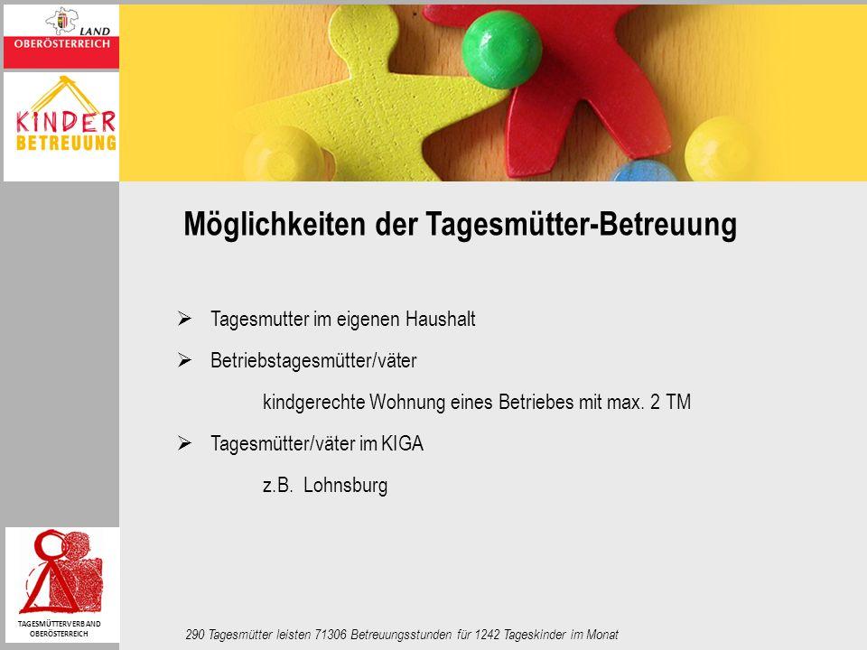 Möglichkeiten der Tagesmütter-Betreuung Tagesmutter im eigenen Haushalt Betriebstagesmütter/väter kindgerechte Wohnung eines Betriebes mit max. 2 TM T